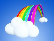 Cartoon rainbow on the clouds. Cartoon rainbow on the clouds isolated on blue background. Clippinh path included Stock Photos