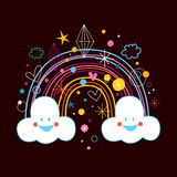 Cartoon rainbow clouds. Happy cartoon rainbow clouds illustration Royalty Free Stock Photo