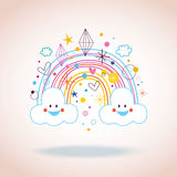 Cartoon rainbow clouds hearts diamonds illustration Stock Photography
