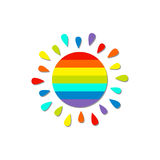 Cartoon rainbow color sun. Isolated White background Stock Photography