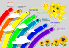 Cartoon rainbow infographics Royalty Free Stock Images