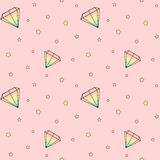 Cartoon rainbow watercolor diamonds on pink background with yellow stars seamless pattern illustration Stock Images
