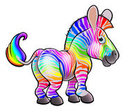 Cartoon Rainbow Zebra Royalty Free Stock Photo