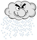 Cartoon raincloud isolated on white Royalty Free Stock Images