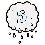 Cartoon raincloud with number 5 Royalty Free Stock Image