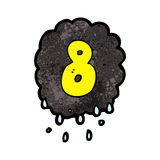 Cartoon raincloud with number eight Royalty Free Stock Image