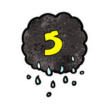Cartoon raincloud with number five Stock Photography