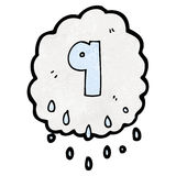 Cartoon raincloud with number nine Royalty Free Stock Images
