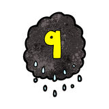 Cartoon raincloud with number nine Stock Images