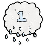 Cartoon raincloud with number one Stock Photo