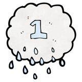 Cartoon raincloud with number one Stock Photo
