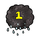 Cartoon raincloud with number one Royalty Free Stock Images