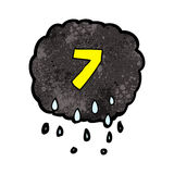 Cartoon raincloud with number seven Royalty Free Stock Image