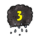 Cartoon raincloud with number three Royalty Free Stock Photography