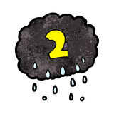 Cartoon raincloud with number two Royalty Free Stock Photo