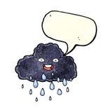 Cartoon raincloud with speech bubble Stock Photo