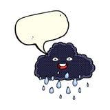 Cartoon raincloud with speech bubble Stock Images