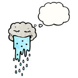 Cartoon raincloud with thought bubble Stock Images