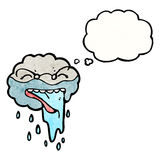 Cartoon raincloud with thought bubble Royalty Free Stock Photography