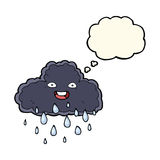 Cartoon raincloud with thought bubble Royalty Free Stock Images