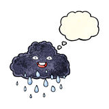 Cartoon raincloud with thought bubble Stock Photo