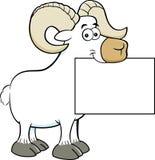 Cartoon ram holding a sign. Stock Photos