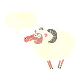 Cartoon ram with speech bubble Royalty Free Stock Images