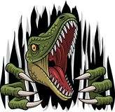 Cartoon raptor mascot ripping stock illustration