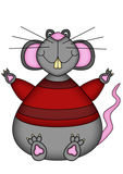 Cartoon rat. Brightly colored cartoon style illustration of an overweight rat in a striped red jumper, isolated on white Royalty Free Stock Photography