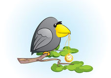 Cartoon raven with clock. Cartoon raven on a tree holds the golden clock Stock Image