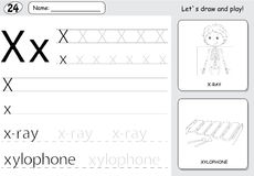 Cartoon x-ray boy and xylophone. Alphabet tracing worksheet: wri. Ting A-Z, coloring book and educational game for kids Royalty Free Stock Photography
