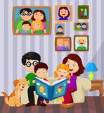 Cartoon read a story book in the living room Royalty Free Stock Photos