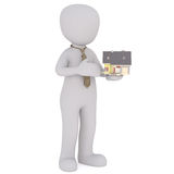 Cartoon Real Estate Agent Holding Small House. Real Estate Concept Image - Generic Gray 3d Cartoon Figure Wearing Patterned Tie and Holding Small Scale Model of Royalty Free Stock Images
