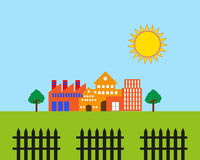 Cartoon Real Estate. Vector illustration of cartoon real estate with meadow, the sun and a fence Stock Photo