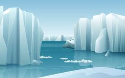 Cartoon realistic nature winter arctic ice landscape with iceberg and snow mountains hills. Royalty Free Stock Photos