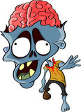 Cartoon reanimated zombie. Cartoon  illustration of a reanimated zombie with the top of his skull missing and brain exposed, one of the walking dead Royalty Free Stock Photo