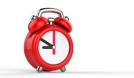 Cartoon red alarm clock. 3d Illustration, isolated on white background. Stock Photos
