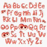 Cartoon red alphabet with eyes. Vector illustrated stock illustration