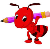 Cartoon red ant holding pencil Royalty Free Stock Photography