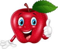 Cartoon red apple giving thumbs up Stock Images