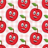 Cartoon Red Apple Seamless Pattern. A seamless pattern with a cartoon red apple character smiling, on a checkered picnic tablecloth background. Useful also as Stock Images