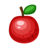 Cartoon red apple on a white background. Apple Icon in Color. Vector illustration vector illustration