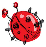 Cartoon red baby ladybug in a naif childish drawing style. Cartoon red baby ladybug with black dots in a naif childish drawing style Royalty Free Stock Photography