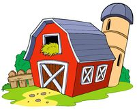 Cartoon red barn Royalty Free Stock Image