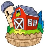 Cartoon red barn with fence Royalty Free Stock Images
