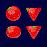 Cartoon red buttons, Strawberry kit for game ui development. Vector illustration of a set of Cartoon red buttons, Strawberry kit for game ui development, vector Stock Image