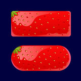 Cartoon red buttons Strawberry. Vector illustration of a set of Cartoon red buttons, Strawberry kit for game ui development, vector gui elements. Menu buttons Royalty Free Stock Image