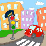 Cartoon red car and traffic lights on a pedestrian crossing Royalty Free Stock Photo