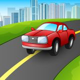 Cartoon red car on the urban highway Stock Image