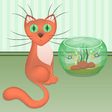 Cartoon red cat and aquarium with fishes at the wall on the floor Royalty Free Stock Photos